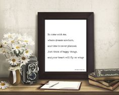 happy quote wall art, motivational poster, Peter Pan print, Peter Pan quote, positive wall art, black and white, think of happy things by BookQuoteDecor on Etsy https://www.etsy.com/listing/518937186/happy-quote-wall-art-motivational-poster