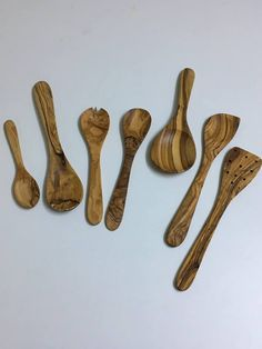 Set of 7 Olive wood cooking spoons-Wooden Serving Utensils & Sets -Kitchen Tools #Handmade