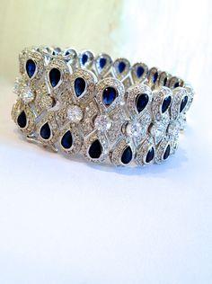 Vintage Sterling Silver Blue Sapphire Estate Jewelry Bracelet