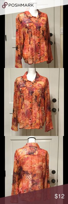 Chico's sheer button down blouse Size 3 Light and sheer Chico's button down blouse. Chili's Size 3 (equivalent to XL) 100% silk with sequins and sparkle! Chico's Tops Blouses