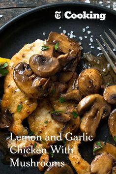 Lemon & Garlic Chicken with Mushrooms NYT Cooking: In this Provençal rendition of pan-cooked chicken breasts, the mushrooms take on and added dimension of flavor as they deglaze the pan with the help of one of their favorite partners, dry white wine. Pan Cooked Chicken, How To Cook Chicken, Mushroom Chicken, Chicken With Mushrooms, White Mushrooms, Lemon Garlic Chicken, Cooking Recipes, Healthy Recipes, Healthy Mushroom Recipes