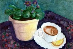 ACEO TW MAY Original Watercolor Painting Mixed Media Floral Artist US B Donati