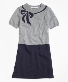 Look at this Brooks Brothers Navy & Gray Bow Instarsia Sweater Dress - Kids & Tween on #zulily today!