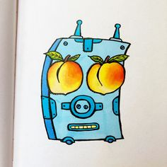 Lookin' peachy. My entry to #doodlewashjune2021 daily drawing challenge. Day 2 prompt: 'Peaches' #moleskine #peaches Alcohol Markers, Daily Drawing, Drawing Challenge, Prompt, Moleskine, Peaches, Doodles, Drawings, Art