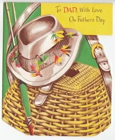 Vintage Unused Creel Basket w/ Fishing Hat and Lures Father's day Greeting Card