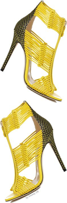 Jimmy Choo ~ 'Kattie' Canary and Black Sandals Summer Bright yellow high heel shoes. Black and yellow poka dot back heels. Stilettos, High Heels, Pumps, Shoe Boots, Ankle Boots, Shoes Heels, Flat Shoes, Cute Shoes, Me Too Shoes