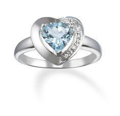 Diamond and Aquamarine 14k White Gold Heart Ring
