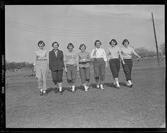 1953: Women softball players (one with Yale sweatshirt)