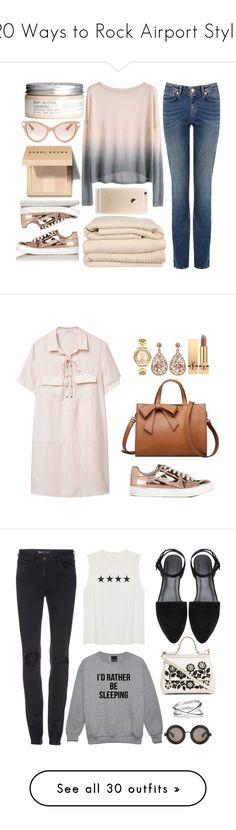 20 Ways to Rock Airport Style by polyvore-editorial on Polyvore featuring polyvore travelstyle waystowear fashion style Brahms Mount H&M Valentino Bobbi Brown Cosmetics Miss Selfridge clothing MANGO Michael Kors Luxiro Yves Saint Laurent women's fashion shoes sneakers sapatos nude laced shoes miss selfridge nude shoes polyurethane shoes nude lace up shoes 3x1 Dolce&Gabbana Christopher Kane Maison Margiela Zimmermann Gucci Illamasqua Clinique tops hoodies sweatshirts sweaters shirts black…