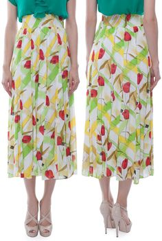 Fusta midi verde din voal model 33172 Midi Skirt, My Style, Floral, Skirts, Model, Fashion, Green, Moda, Skirt