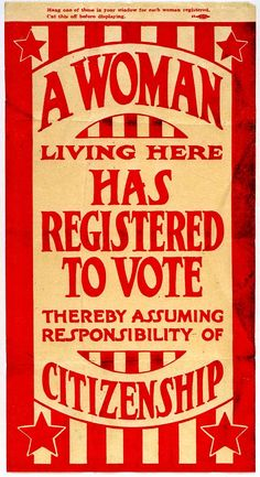 """A Woman Living Here Has Registered to Vote"" - c. 1920 Suffrage Flyer MHS Collections : Missouri History Museum (mohistory) --- pp: Never take that vote for granted! Know the REAL issues! Missouri, Vintage Ads, Vintage Posters, Vintage Ephemera, Vintage Food, Retro Ads, Vintage Clip, Vintage Labels, Vintage Stuff"