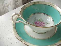 antique turquoise green tea cup and saucer set, Royal Grafton English bone china tea set 1949, pink roses gold