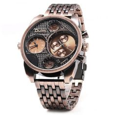 Oulm Unique Waterproof Quartz Watch with Double Movt Analog Indicate Steel Watchband for Men #>=#>=#>=#>=#> Click on the pin to check out discount price, color, size, shipping, etc. Save and like it!
