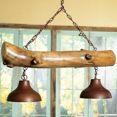 Cabin living room decor with the aspen log light fixture, perfect for over a bil… - All For Decoration Cabin Lighting, Rustic Lighting, Home Lighting, Overhead Lighting, Unique Lighting, Rustic Wood, Rustic Decor, Rustic Lamps, Rustic Light Fixtures