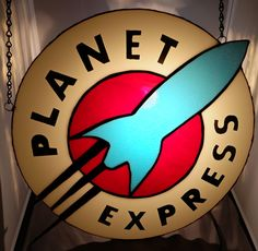 Stained glass Planet Express logo I just finished.