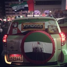 Vehicles decorated for UAE 43rd National Day PHOTO: wardalicious