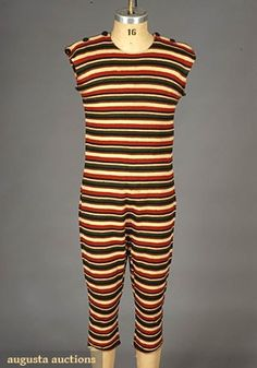 Colorful Striped Wool Bathing Suit, C. Augusta Auctions, May 2007 Vintage Clothing & Textile Auction, Lot 710 Clothing And Textile, Antique Clothing, Historical Clothing, Vintage Bathing Suits, Vintage Swimsuits, Edwardian Fashion, Vintage Fashion, Edwardian Era, Victorian Era