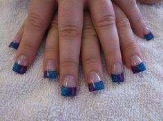 blue and purple glitter acrylic