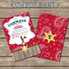 Cowboy Party Invitation - different colors available- Printable File - PDF and JPG on Etsy, $12.00