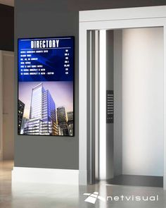 Modern, bright and easy-to-read digital building directories by Netvisual, a leading provider of digital signage solutions. Building Map, Building Design, Digital Kiosk, Digital Menu Boards, Digital Signage Solutions, Lobby Design, Video Wall, Elevator, Property Management