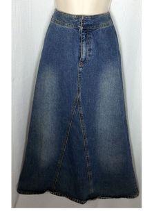 Liz Claiborne Lizwear Jeans Denim Skirt Size 8P Petite Lightwash Cotton Boho #LizClaiborne #ALine