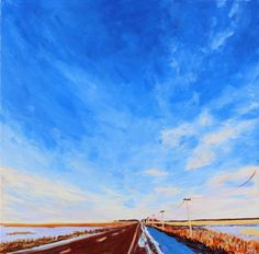 Acrylic, 24x24 inches, 2021 I worked on this piece as part of my recent North Van Arts Acrylic Salon. It depicts a prairie road south of the Cypress Hills in Saskatchewan. #art #contemporaryart #artwork #painting #prairiesky #prairie #InteriorDesign #WallArt #saskatchewan #canada #canadianartist #scottishartist Eastend Arts Council / Wallace Stegner House Wallace Stegner, Saskatchewan Canada, Cypress Hill, Canadian Artists, Contemporary Art, Wolf, Van, Painting, Wall Art