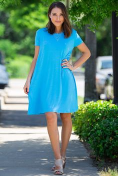 104d37d341b The Perfect Piko Short Sleeve Swing Dress-Bright Blue