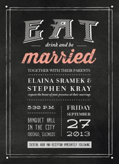 5x7 chalkboard themed wedding invitation. For Sale! Available as a print-ready PDF. Will be customized to your details and preferences. View it on etsy.