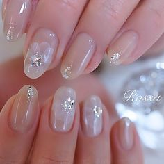 ネイル ネイル in 2019 Gorgeous Nails, Pretty Nails, Diy Rhinestone Nails, Coffin Nails, Acrylic Nails, Super Cute Nails, Bride Nails, Chic Nails, Short Nails Art