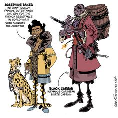 schweizercomics:   Black History Month! My favorite parts of history (as might be obvious from my choice of subject matter when making books) are the ones that fall into easily-categorized genres, genres with associated visual iconographies.  This is the sort of stuff I loved as a kid: pirates, knights, cowboys, explorers, romans and Egyptians and flying aces.  Stuff you could find featured in a bag of toys or a generic costume. For Black History Month, I thought I might visit some of these…