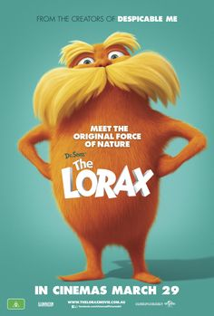 Official theatrical movie poster ( of for The Lorax Starring Zac Efron, Danny DeVito, Taylor Swift, Ed Helms The Lorax, Mary Poppins 1964, Danny Devito, Bon Film, Film D'animation, Betty White, Wall E, Zootopia, 2012 Movie