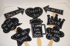 Items similar to 8 Blank Chalkboard Photo booth Props PLUS One Chalk Markers - Chalkboard Photo Props with Speech Bubbles on Etsy Our Wedding, Dream Wedding, Wedding Ideas, Funny Wedding Speeches, Accessoires Photo, Wedding Photo Booth Props, Photos Booth, Chalk Markers, Etsy