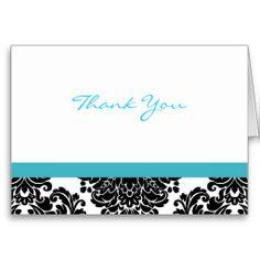 Elegant Blue Turquoise Damask Thank You Note Cards