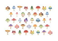 """""""Mushrooms"""" −Atelier RiLi, picture book, illustration, design ___ """"色とりどりのきのこ"""" −リリ, 絵本, イラスト, デザイン ...... #illustration #mushroom #animal #イラスト #きのこ #動物"""