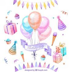 Cumpleaños acuarelado