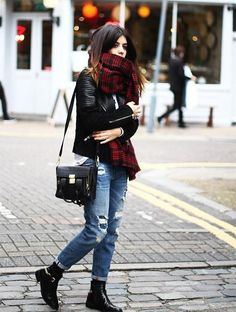 Plaid and ripped jeans