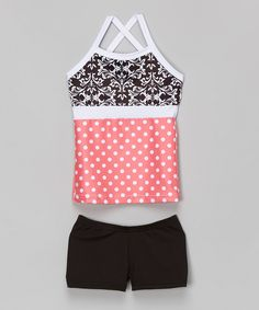Look at this Elliewear Coral & Black Damask Polka Dot Tank & Shorts - Girls on #zulily today!