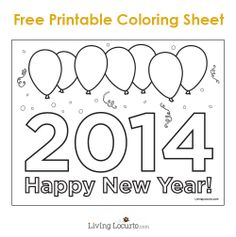 Free Printable 2014 Happy New Year Coloring Sheet LivingLocurto.com