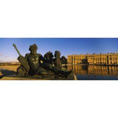 Statues in front of a castle Chateau de Versailles Versailles Yvelines France Canvas Art - Panoramic Images (36 x 13)