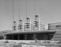 Pan Pacific Auditorium, Los Angeles, CA.  Designed in 1935 by Welton Becket and Walter Wurdeman, the Pan Pacific was a premier example of Streamline Moderne.  All but the west façade was destroyed by fire in 1989, and the entire building had to be demolished in 1992.