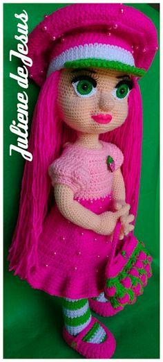 Crochet Dolls, Crochet Patterns, Christmas Ornaments, Toys, Holiday Decor, Dress, Strawberry Shortcake Doll, Amigurumi Doll, Tejidos