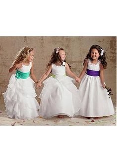 Pretty Satin & Organza Bateau Neckline Floor Length Flower Girl Dress