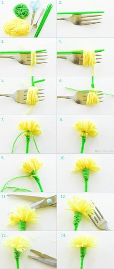 How to make tassel flowers - Make an easy DIY dandelion bouquest with yarn and pipe cleaners to delight someone you love. Perfect for weddings, parties and Mother's Day. patricks day diy crafts Easy Tassel Flowers: DIY Dandelion Bouquet - Bren Did