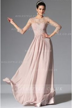 3/4 length sleeve Lace ruching long chiffon evening dresses
