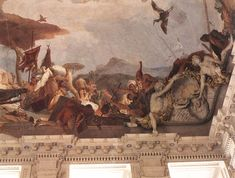 "Giovanni Battista Tiepolo Apollo and the Continents (America) Spain (1752-53) Fresco Stairwell of the Residenz, Würzburg ""   The personification of the American Continent rides on a huge crocodile...."