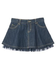 Ruffly tulle adds fashion to a cool jean skirt.