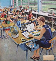 This illustration captures the feel of newly-built suburban elementary schools. My elementary school had those same desks with the pencil groove at the top and that same wall of windows in all the rooms. Images Vintage, Vintage Pictures, Vintage Ads, Illustrations Vintage, School Daze, Vintage School, Arte Pop, Norman Rockwell, Retro Art