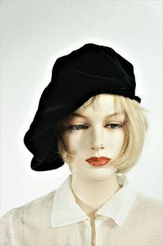 1a620575b7f28 Stevie Nicks Velvet Hat   Vng 20s Oversize Black Silk Beret   MCM 30s Silk  Beret   Velvet Beret Made by Croxley   Edwardian Black Hat