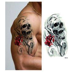 8pcs/lot Waterproof Skull Temporary Tattoos For Women Men Arm Sticker Sleeve Body Tattoo Shoulder Tattoos Cool New Designs Tatto