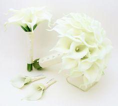 Calla Lily Bridal & Bridesmaid Bouquets White Calla Lilies Groom Groomsmen White Calla Lily Boutonniere Ivory Ribbon